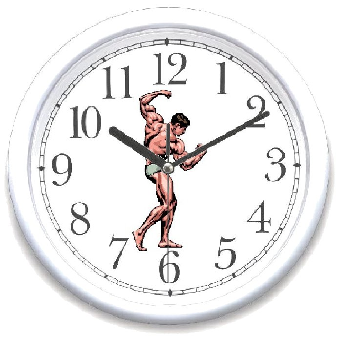 Fitness Aerobics Body Building Weight Lifting Theme Clocks By